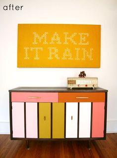 mustard, pale pink, orange, coral, white Jessica Decker, Diy Furniture, Repainting Furniture, Painted Furniture, Vintage Furniture, Cross Stitch Letters, Cute Cross Stitch, Cross Stitch Embroidery, Cross Stitching