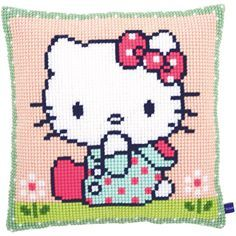 Hello Kitty On The Lawn Cushion Cross Stitch Kit, 16 inch x 16 inch, Multicolor Cross Stitch Pillow, Cross Stitch Kits, Cross Stitch Patterns, Loom Patterns, Embroidery Patterns, Chat Hello Kitty, Art Japonais, Cat Quilt, Knit Pillow
