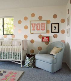 Metallic polka dot decals for L's room?