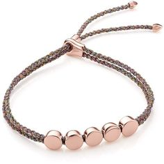 Monica Vinader Rose Gold Vermeil Linear Bead Friendship Bracelet -... (605 SAR) ❤ liked on Polyvore featuring jewelry, bracelets, letter jewelry, braid jewelry, braided friendship bracelet, rose bangle and beaded friendship bracelet