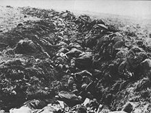 Dead British soldiers lying in trenches after the Battle of Spion Kop, near Ladysmith, Natal. The British suffered 243 fatalities during the battle; many were buried in the trenches where they fell. Approximately 1,250 British were either wounded or captured. The Boers suffered 335 casualties of which 68 were dead, including Commandant Prinsloo's commando casualties of 55 killed and wounded out of 88 men.
