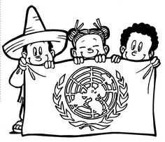 Pinto Dibujos: Bandera de las naciones unidas para colorear