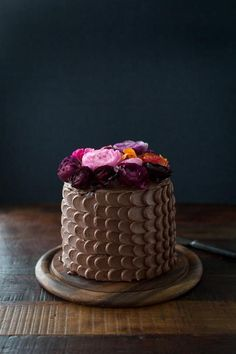 Image result for chocolate cakes with real flowers