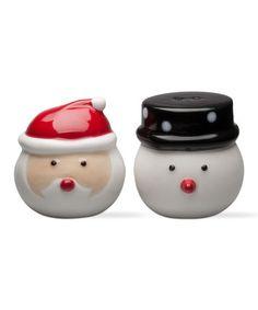 Another great find on #zulily! Santa & Snowman Salt & Pepper Shakers #zulilyfinds