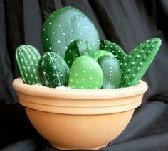 Rock cactus. Paint rocks and stones of different sizes then assemble them in a pot with some gravel.