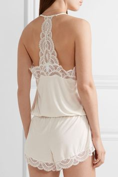 Eberjey - Marry Me Lace-trimmed Stretch-modal Jersey Playsuit - Ivory - large