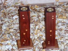 Black Walnut Candle Holders crafted by L. Design Reclaimed.