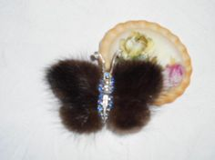 Vintage Brooch Brown Mink Fur Brooch Butterfly Silver Metal Blue Stones Faux Pearls Vintage Jewellery Costume Jewelry by GladragsandHandbags1 on Etsy
