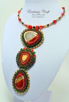 """Bead embroidered pendant """"Firebird"""" by Exclusive Craft"""