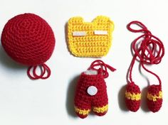 Iron Man FREE Pattern Hey everyone! I'm sorry I've been away for so long, I guess school work got the best me in the past few months. Although I haven't published in a while, don't think I didn… Crochet Amigurumi Free Patterns, Crochet Doll Pattern, Knitting Projects, Crochet Projects, Crochet Mignon, Iron Men, Crochet Diy, Minis, Creations