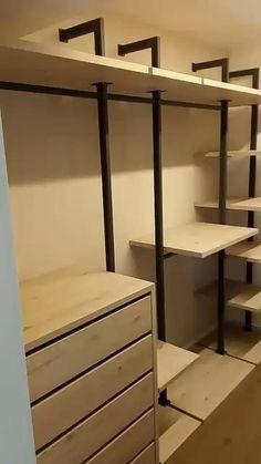 Bedroom Storage Shelves, Childrens Bedroom Storage, Girls Bedroom Storage, Master Bedroom Closet, Small Room Bedroom, Room Decor Bedroom, Industrial Closet, Modern Closet, Closet Layout