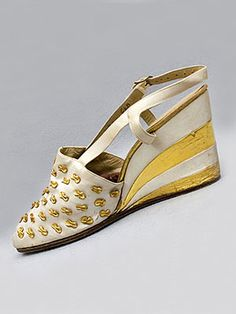 829ae2233d Ferragamo beaded satin evening sandals with wedge heels, c.1940-42. Insole