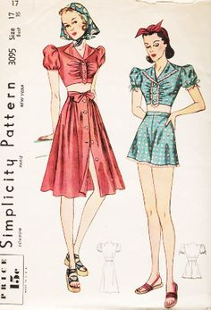 Fun, flirty, totally cute 1940s summer looks from Simplicity. The 40's style playsuit, a two piece, would be a little more comfortable.