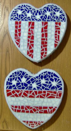 2 flag mosaics I just finished----- there is glass on the sides of the heart stepping stones also   $50 each  These are about 9 inches in width and height Mosaic Crafts, Mosaic Projects, Mosaic Art, Mosaic Glass, Fused Glass, Craft Projects, Stained Glass, Mosaic Rocks, Mosaic Stepping Stones