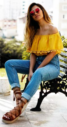 Yellow Pom Pom Trim Ruffle Off The Shoulder Top