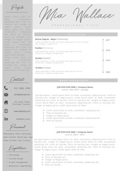 Professional Resume + Cover Letter Template Editable for MS Word - Curriculum Vitae - English CV with Fonts included - Resume Cover Letter Template, Cv Template, Letter Templates, Resume Templates, Professional Resume, Knowledge, Lettering, Words, Etsy