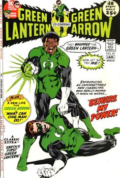 70's GL: Green Lantern/Green Arrow vol 2 #87 cover by Neal Adams, December 1971. The first appearance of John Stewart.