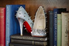 Spiked studded Christian Louboutin shoes #books