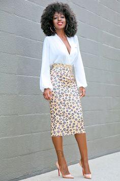 Faux Wrap Blouse + Leopard Print Pencil Skirt