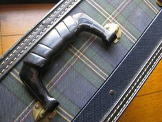 Vintage Blue Plaid Suitcase with Lock and Keys by corrnucopia, $28.00