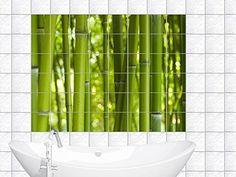 Fliesenaufkleber Fliesenbild Bambus grün im Querformat für Badezimmer (Fliesenmaß:15x20cm(BxH)//Bildformat:150x100cm(BxH))