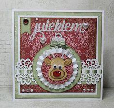 Lenas kort: Julekort med Rudolf julekule på Doodles, Christmas, Xmas, Navidad, Noel, Natal, Donut Tower, Doodle, Kerst