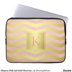 Glamour Pink and Gold Chevrons with Monogram Laptop Sleeves - Protect your laptop or tablet device in glamorous style with this pink and gold chevron stripes pattern and custom monogram that you can edit with your desired initial or other text. Sold at DancingPelican on Zazzle.