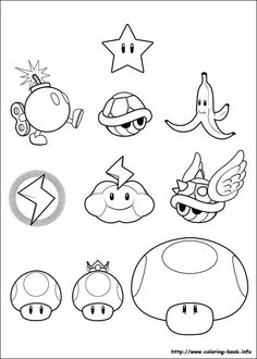 Super Mario Bros. coloring picture to use for patterns