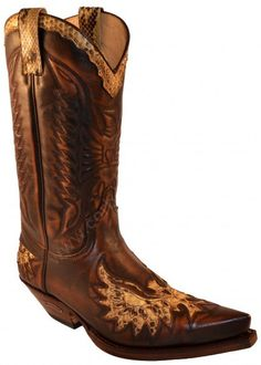 7106 Cuervo Natur Antic Jacinto-Piton Natural | Sendra mens brown leather with snake skin eagle cowboy boots  220€