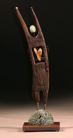 """Heart of gold"" by Kimberly Willcox mixed media sculpture bronze, stone, steel"