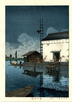 Rain at Ushibori, by Kawase Hasui, 1929. -- See also at: http://butdoesitfloat.com/He-strove-long-to-learn-what-can-be-learned-in-silence-from-the-eyes