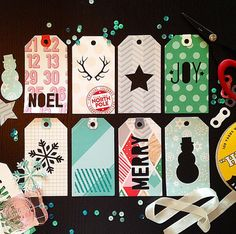 Holiday Tags Digital Cut File - perfect for scrapbooking, mini books, cards, and Christmas present wrapping!