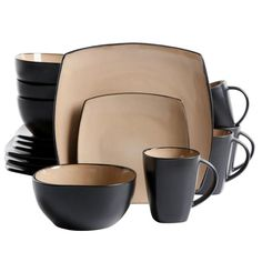 Gibson Home Brown Dinnerware at Lowe's. Gibson's Soho Lounge Square 16 Piece Stoneware Dinnerware Set is perfect for every day meals and elegant dinner gatherings. The square shape with taupe Brown Dinnerware, Dinnerware Sets For 12, Stoneware Dinnerware Sets, Square Dinnerware Set, Casual Dinnerware, Tableware, Kitchenware, Dinnerware Ideas, Modern Dinnerware