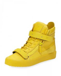 Giuseppe Zanotti Men's Double Strap Leather High Top Sneakers Yellow 44eu 11us | Shoes and Footwear