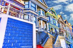Long Row Of  Victorian Houses With Clouds, San Francisco   mitchellfunk.com