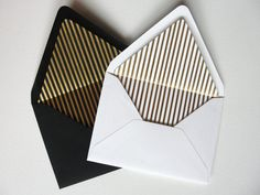 Set of 10 / Gold Foil Striped / Lined Envelopes / Cream White or Black Liners / Custom Color / Navy - Blue Black - White / A7 A6 Square