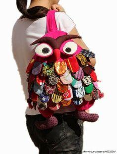 ARTE COM QUIANE - Paps,Moldes,E.V.A,Feltro,Costuras,Fofuchas 3D: Molde: mochila Coruja de tecido