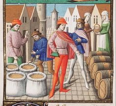 The Hague, MMW, 10 A 11 fol. 253v  Book 5, 15 God rewarded the Romans with prosperity: the corn and wine market (2nd of 2)