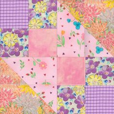 Make Your Little One a Cuddly In the Pinks Baby Quilt: Hour Glass Quilt Block Close-Up
