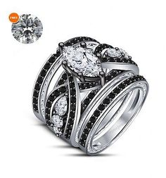 238eabbd5bcd8d 3 Pcs Marquise Cut 14K White Gold Diamond Bridal Wedding Engagement Ring  Set Engagement Ring Settings