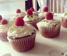 Fresh raspberry and mint muffins