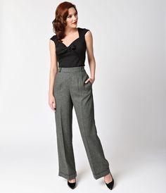 Banned 1940s Style Grey Herringbone Lady Luck Wide Leg Pants