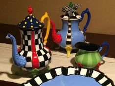 Painted Tea Set // Painted Silver Tea Set // Whimsical Painted Tea Set hand painted home decor Mackenzie Childs Inspired, Tee Set, Mckenzie And Childs, Silver Tea Set, Mad Hatter Tea, My Tea, Diy Arts And Crafts, Tea Party, Hand Painted