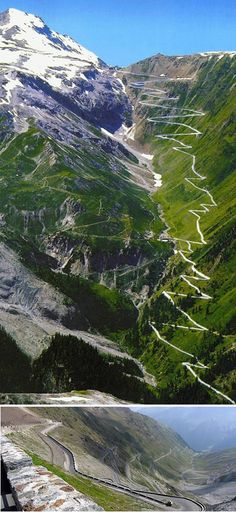Voted best driving road in the world. STELVIO PASS in the Italian Alps is one of the highest mountain passes in all of Europe. Also one of the most dangerous roads in the world. Places To Travel, Places To See, Travel Things, Travel Stuff, Dangerous Roads, Winding Road, Zermatt, Belle Photo, Italy Travel