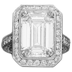 Amazing 7.45 ct. Emerald Cut GIA Diamond White Gold Wedding Ring ❤ liked on Polyvore featuring jewelry, rings, jew / rings, antique white gold ring, wedding rings, white gold wedding rings, white gold rings and emerald cut ring