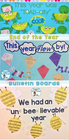 This end of the year bulletin board kit includes 3 different ideas for fun writing craftivities and classroom displays that will help students reflect on their school year. It includes the patterns, printables, instructions (with pictures), and titles / bulletin board letters (in color and ink-saving black and white) for 3 fun spring-themed crafts and bulletin boards that are perfect for the end of the school year. #childcareideas