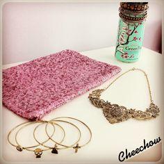Sequin clutch bag,bracelets,statement necklace