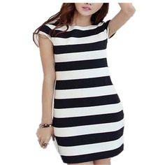 New Korean style Womens Short Sleeve Bowknot Backless Dresses Casual Elegant Bodycon Slim O Neck Striped Dress Plus Size