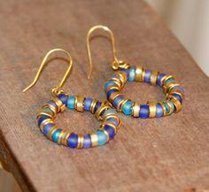 Blue Beaded Hoop Earrings Gold Hoops Nu-Gold by BirchBarkDesign