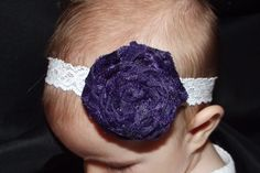 Purple Velvet Rose and White Lace Headband. $7.00, via Etsy.